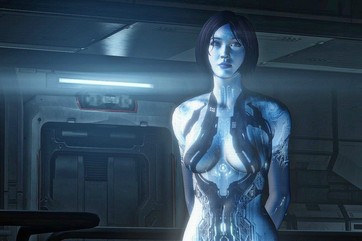 Screenshot of the character 'Cortana' from the 'Halo' videogame series by Bungie